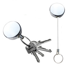 Retractable Metal Card Badge Holder Steel Recoil Ring Belt Clip Pull Key Security Chain Reel ID Lanyard Name Tag Badge Holder