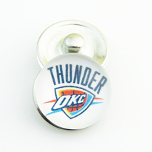 20pcs/lot NBA Fashion Basketball Sports Oklahoma Thunders Glass Snap Button for DIY 18mm Snap Bracelet Jewelry