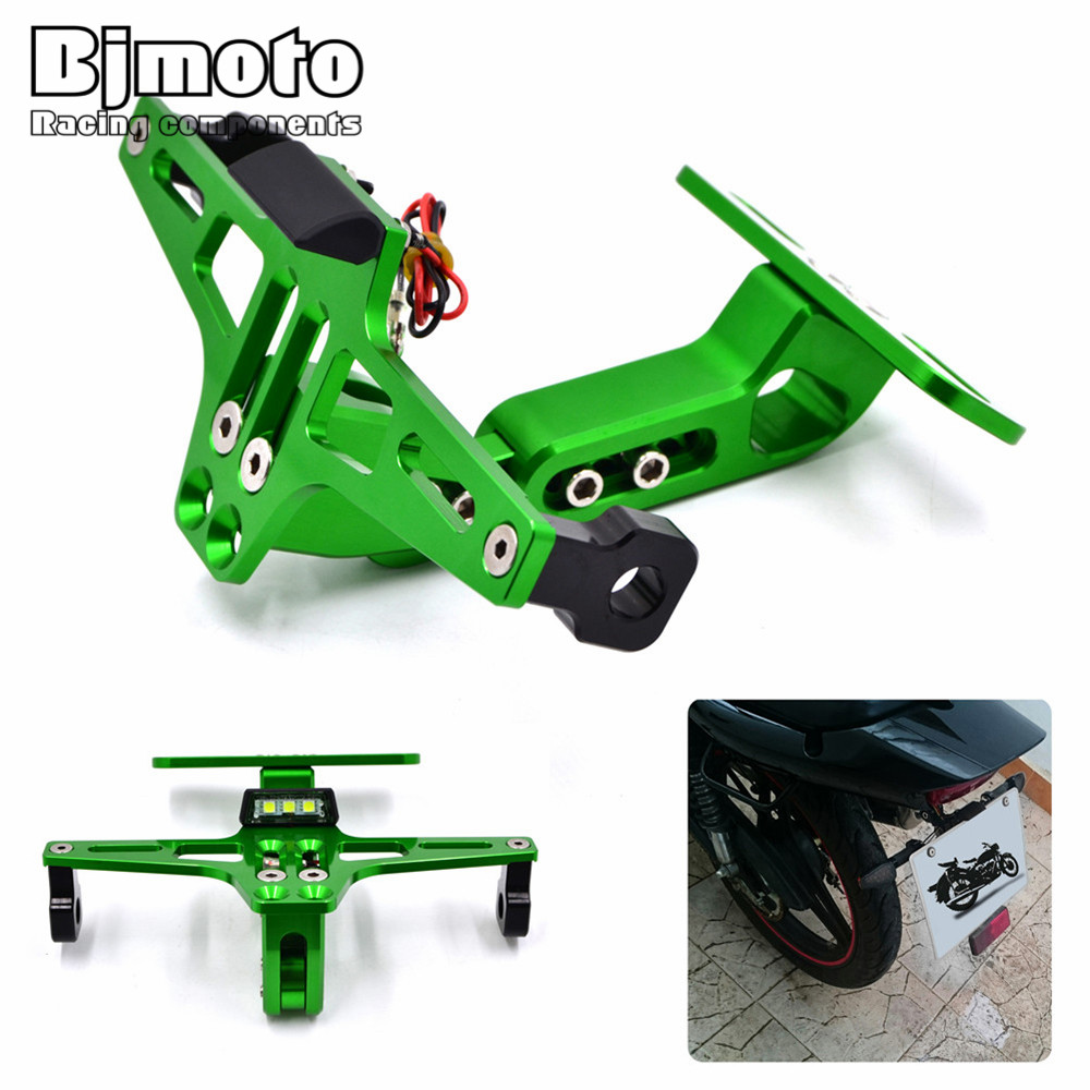 Motorcycle Adjustable Angle License Number Plate Frame Holder Bracket For Kawasaki Z800 z750 z1000 EX ninja 250 300 Sport Bike<br>