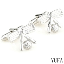 Free shipping Mens Wedding Cufflinks Novelty Fancy Golf Racket Ball Wholesale&retail(China)