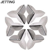 JETTING 8PCS Sliver Jewelry Chest Gift Box Wooden Case Decorative Feet Leg Metal Corner Protector for furniture