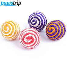 5pcs/lot Pet Cat Toy Sisal Ball Kitten Teaser Playing Chew Scratch Catch Toy Diameter 5cm(China)