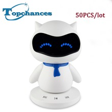 50x Mini Portable cute Robot Smart Blueototh Speaker With Music Calls Handsfree TF MP3 AUX Function for All Bluetooth Devices(China)