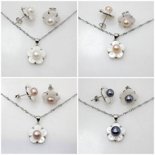 4 styles Natural white/pink/purple/black Pearl & White Shell Flower Earring Pendant Chain Jewelry Sets