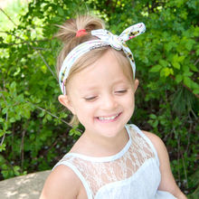 Naturalwell Fashion Little Girls Rabbit Bow Ear Hairband Kids Top knot DIY Headband Child Turban Knot Head Wraps 1pc HB525
