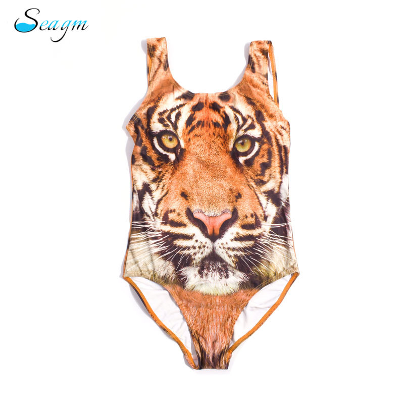 Seagm children swimwear one pieces 3D tiger print swimsuit girls kids 2017 swimsuit girls bathing suit b18