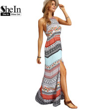 SheIn Ladies Sleeveless Dresses Woman Summer Boho Dress Beach Casual Multicolor Vintage Print A Line Split Maxi Dress