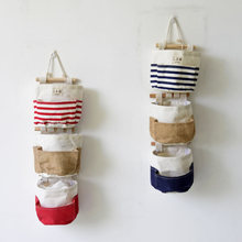 Vintage Wall Pocket Canvas Hanging Wall Storage Pockets Striped Home Decor Door Bathroom Holder Pouch Bathroom porta guardanapo