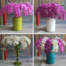 Rose Floral Bouquet Artificial Silk Fake Peony Flower Arrange Phalaenopsis Hydrangea Wedding Decor Purple