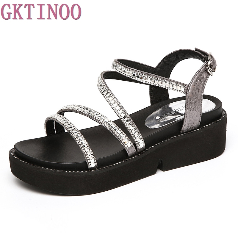 Summer Sandals Women Open Toe Wedge Sandals Rhinestone Sweet Shoes Woman Shoes For Lady Size Plus 34-43<br>
