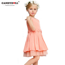CANDYDOLL Childrens Tiered Dress Coral Pink Princess Dress Girls Kids Sleeveless Belted Party Dresses Cute Birthday Gifts