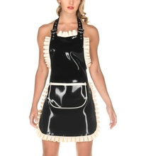 Women's Latex full-length traditional style latex apron Latex Frilly Apron(China)