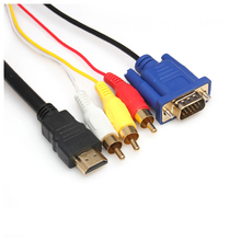 1.8m/6ft Pure Copper HDMI to VGA 3 RCA Composite RGB Adapter Cable M/M
