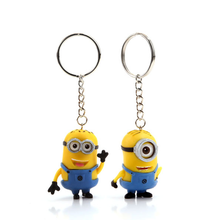 Free Shipping 2pcs/lot New Minions Toys Cartoon Movie Despicable Me 2 3D Mini Keychain talk Minion Action Figure Toys 061