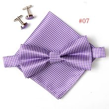 Factory Silk Bow tie set (bows & handkerchief & cufflinks) Classic Men Ties Solid Patterns For Wedding Business Necktie Neck tie
