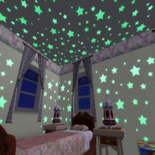 100pcs/lot Party Wall Stickers Glow in the Dark Wall Stickers for Baby Kids Bedroom Colorful Stars Ceiling Luminous Fluorescent