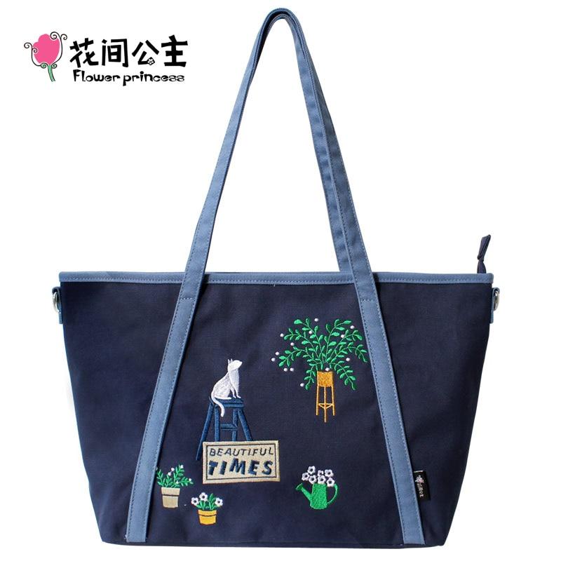 Flower Princess Girls Fashion Embroidery Canvas Handbag Teenager Tote Bag Women Large Crossbody Messenger Bag bolsa feminina<br><br>Aliexpress