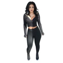 2017 New Fashion Ladies Two Piece Club Set Suits Sexy Tracksuit Ensemble Femme Deep V Crop Tops + Bandage Leggings Pants w1262