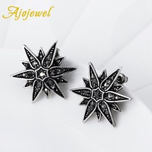 Ajojewel Black Vintage Retro Earring Shinning Crystal Big Star Jewelry Black Stud Earrings For Women Christmas's Day Gift(China)