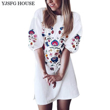 YJSFG HOUSE Casual Floral Print Half Sleeve Mini Party Dresses 2017 Summer Loose Ladies Office Work Dress White Beach Vestidos