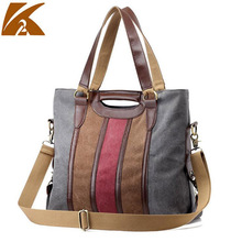 KVKY Patchwork Striped Canvas Tote Handbag Plus Size Women's Vintage Rainbow Messenger Bag Cross Body Shoulder Bolsos Mujer B346
