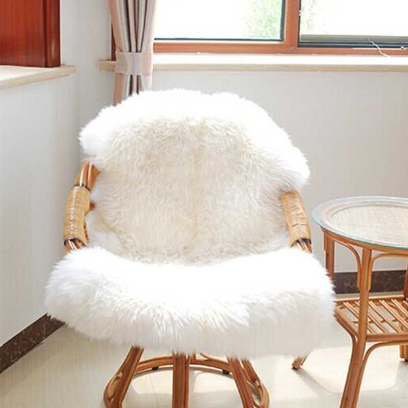 Urijk Soft Sheepskin Chair Cover Warm Hairy Carpet Seat Pad Plain Skin Fur Plain Fluffy Rugs Washable Bedroom Faux Mat Home