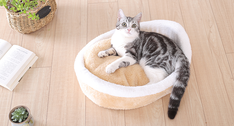 Cat Bed - Cozy Hideaway Covered Dual House Bed 5