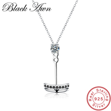 [BLACK AWN] 925 Sterling Silver Necklaces Fine Jewelry Trendy Natural Anchor White Chain Pendant Necklace for Women Gift P018(China)
