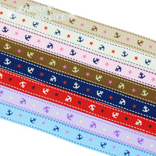 (8 colors mix) 3/8'' (10mm) printed grosgrain ribbon sea anchor series gift wrap ribbons decoration(China)