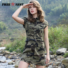Women Summer Military Style Army Green Camouflage Sleeveless Belt Pocket Decoration Short Dresses Lapel  Fashion Mini Sexy Dress