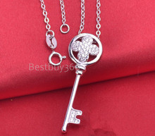 925 sterling silver key necklace containing 45 cm fashion bunge bedstraw herb jewelry for women cubic zirconia necklace