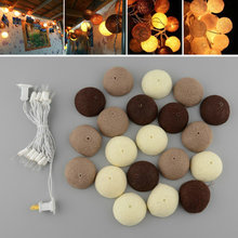 20PCS/SET Cotton Ball String Lights Handmade Aladin Fairy Lighting Wedding Room Decor Mixed Coffee Brown Guirlande Lumineuse LED