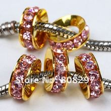Wholesale 10mm 100pcs / Gold Color / Pink Crystal Rhinestone / Big Hole European / Spacers Beads / Fit Charm Bracelet