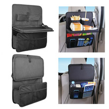 High Quality Auto Back Car Seat Organizer With Food Tray Table Durable Oxford Fabric Multi-function Foldable Travel Storage Bag
