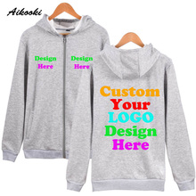 Custom Zipper Hoodies Logo Text Photo Print Men Women Personalized Team Family Customize Sweatshirt Promotion AD Apparel Clothes(China)