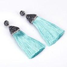 Boho Light Dark Blue Collection Silk Thick Tassel with Blak Rhinestone Cap  Charm Studs Top Long Dangle Tassel Earring For Women 21b050be25b8