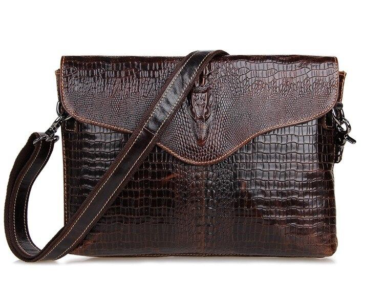 Vintage Crocodile / Alligator Pattern Genuine Leather Small Men Messenger Bags Cowhide Mens Bag For Ipad #MD-J7267<br>