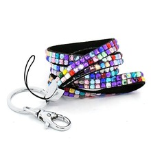 Wholesale 100pcs Bling Crystal Rhinestone Custom Neck Lanyard Strap For ID Name Badge Holder Cell Phone and Key Holders