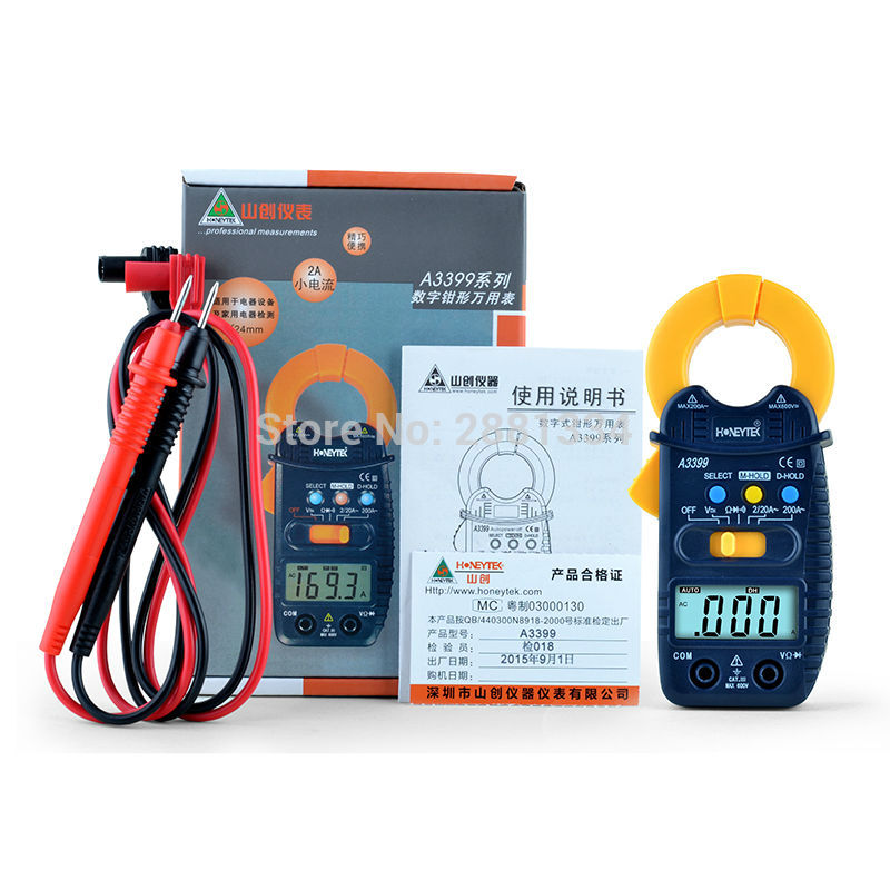 A3399 Digital LCD Clamp Multimeter Meter Current ACDC Voltage Resistance Capacitance Frequency Temperature Tester Detection (13)
