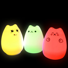 Lightme LED Cat Night Light USB Table Lamp Cute Colorful Bedroom Silicone LED Desk Lamp Kids Lovely Nightlight Bedside 2017 New