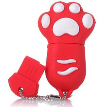 Creative Design Red Color 2D Cat's Paw Model USB 8GB 16GB 32GB USB 2.0 Flash Disk/Drive/Pen/Thumb/Car Free Shipping
