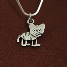 lanseis 20pcs wholesale Cute Cartoon  tiger Necklace pendants for women necklace Animal jewelry Simple necklaces gift for friend