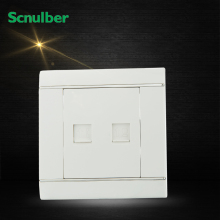 white RJ11 4p telephone female outlet and RJ45 internet 8 core Ethernet cable wall switch socket(China)