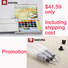 Promotion Sakura 24 colours watercolour paint box and Sakura water brush set of small medium and large size painting brushes(China)