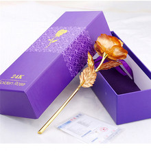 25CM Valentine's Day 24k Gold Foil Rose Flower Handcrafted Handmade Dipped Long Stem Lovers Wedding Gift Purple Box