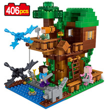 My World The Tree House Compatible Lego Building Blocks 406Pcs  Minecrafted Brick My Craft Figures Kids Educational Toys