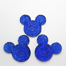 Bulk lot 50pcs 31*34mm Cute Dark Blue Mickey Mouse Head Resin Cabochon Flatback for DIY Crafts Scrapbooking