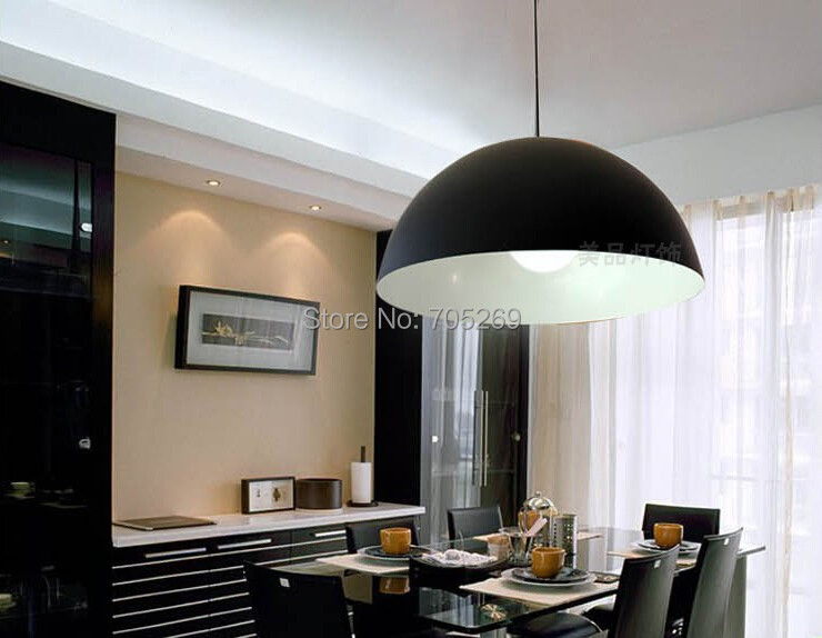 30cm Aluminum pendant lights modern brief black and white red bedroom Semicircle lamps bar single pendant light pendant lamp<br>