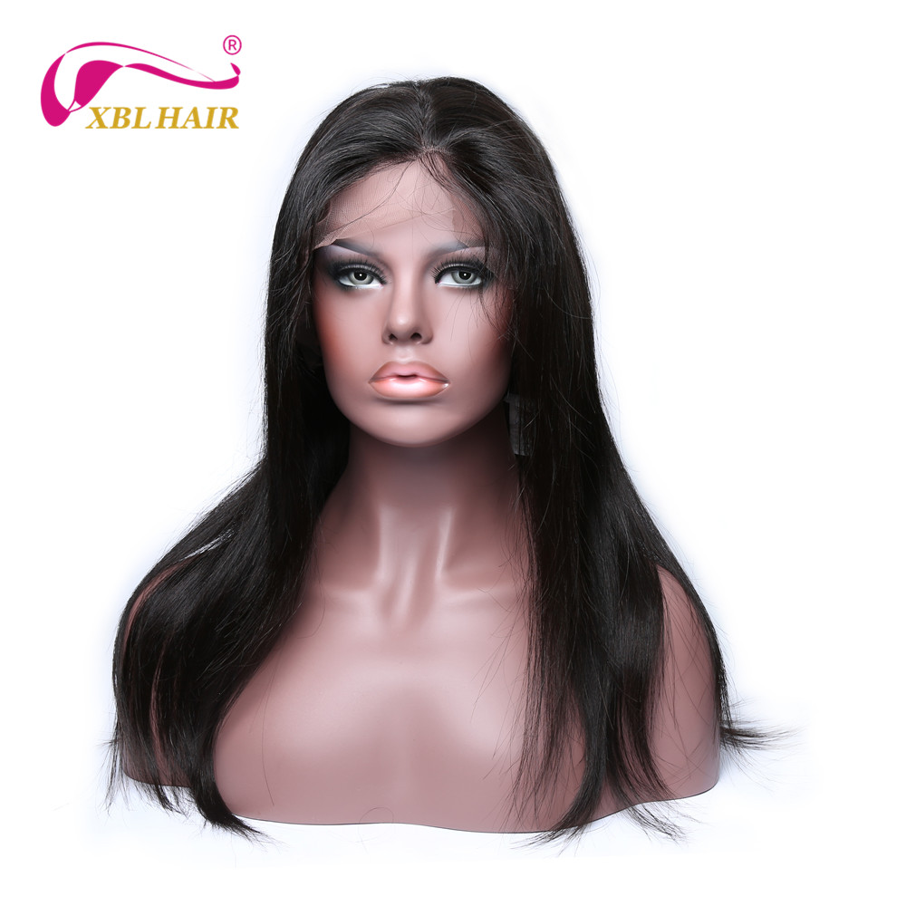 XBL HAIR Lace Front Human Hair Wigs Straight Brazilian Remy Hair Lace Wig for Black Women Natural Color Free Shipping(China (Mainland))