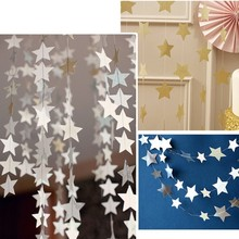 1 pc 4M Star Shape Hanging Garland Wedding Party Celebration Banners Home Garden Holiday Ornaments Decoration 3 Colors